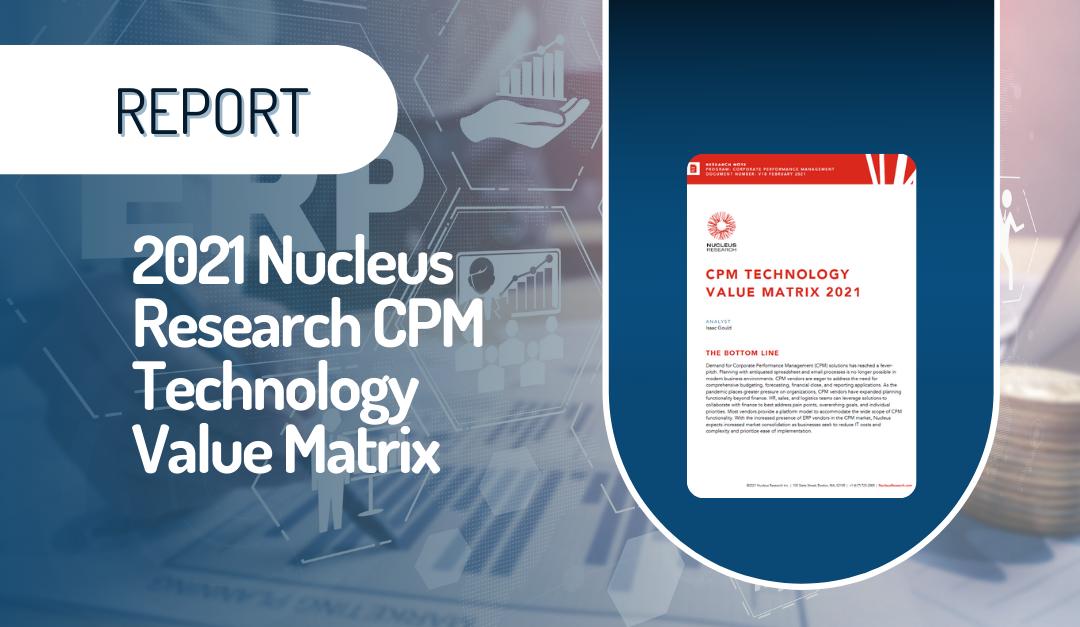 2021 Nucleus Research CPM Technology Value Matrix